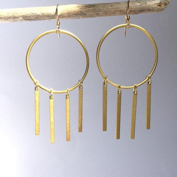 Brass hoops with brass bar